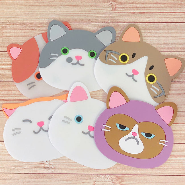 Wrapables Silicon Cute Cat Coasters for Glasses, Cups, and Drinks (Set of 6)
