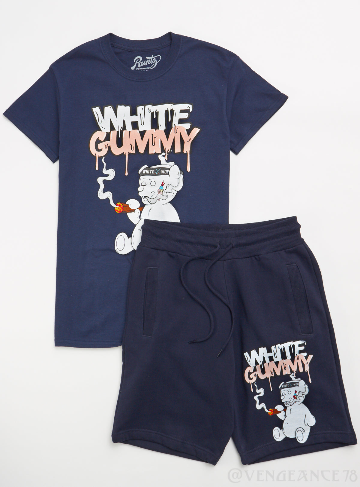 Runtz Short Set - White Gummy - Navy - 40141