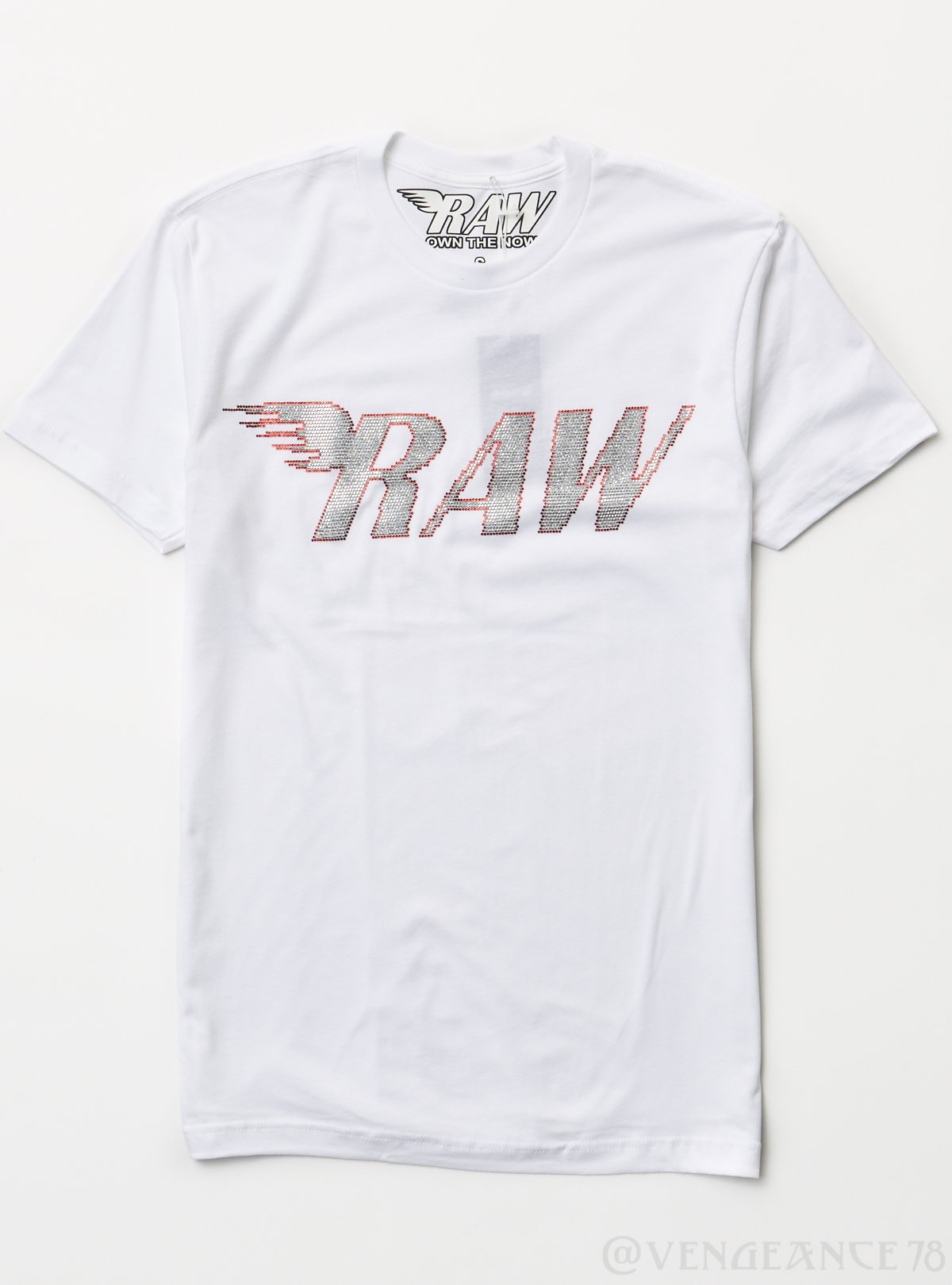 Rawyalty T-Shirt - Raw Stones - Red/Silver and White