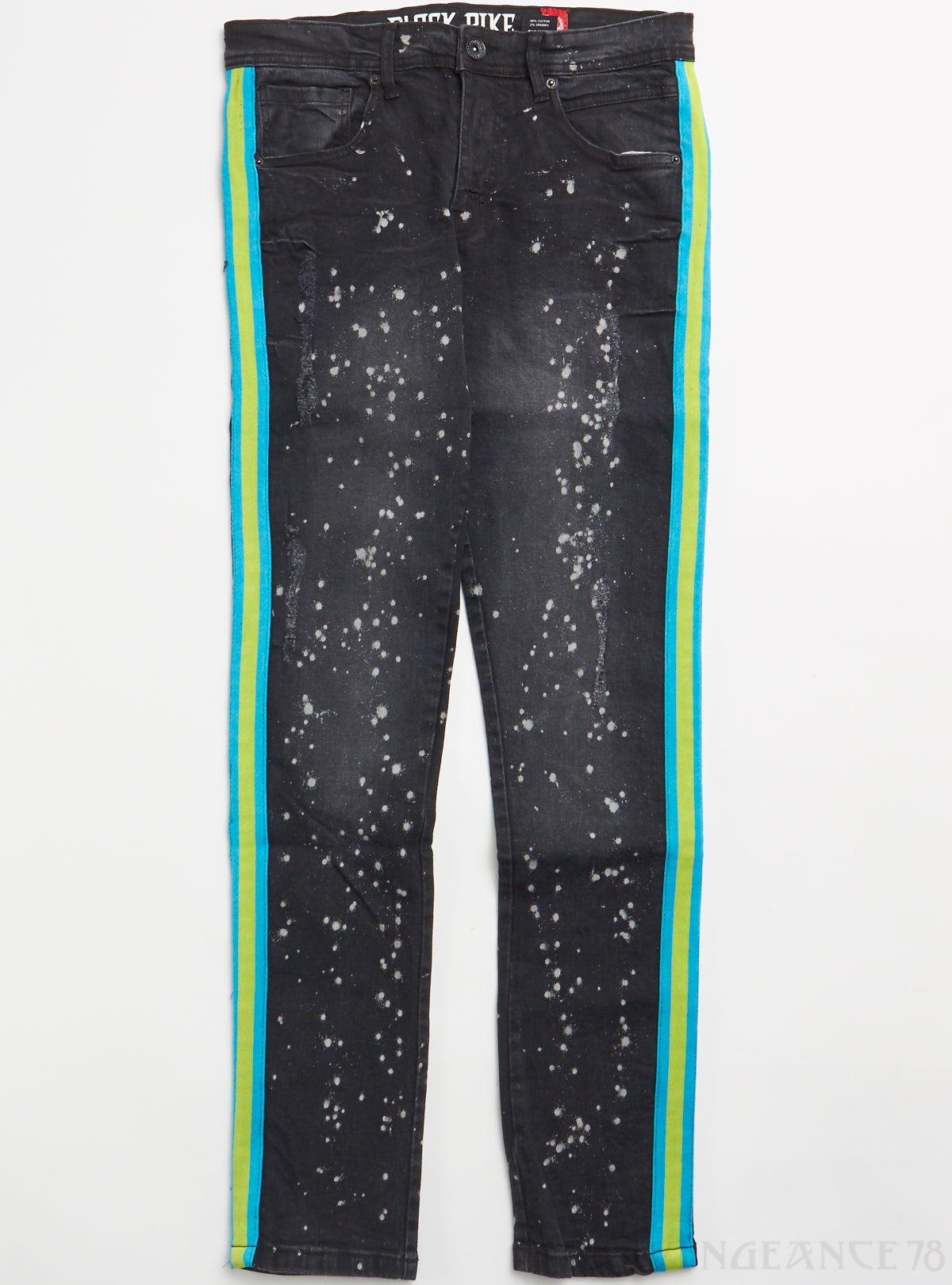 Black Pike Jeans - Fashion Denim with Knitted Taping, Paint Splatter - Black - BS0704