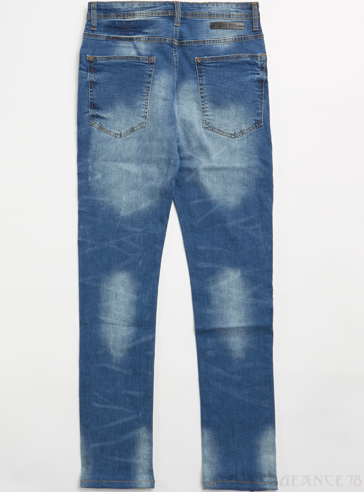 Black Pike Jeans - Fashion Denim with Fire Print - Vintage - BS0706