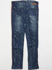 Black Pike Jeans - Fashion Denim with Knitted Taping, Paint Splatter - Vintage - BS0704