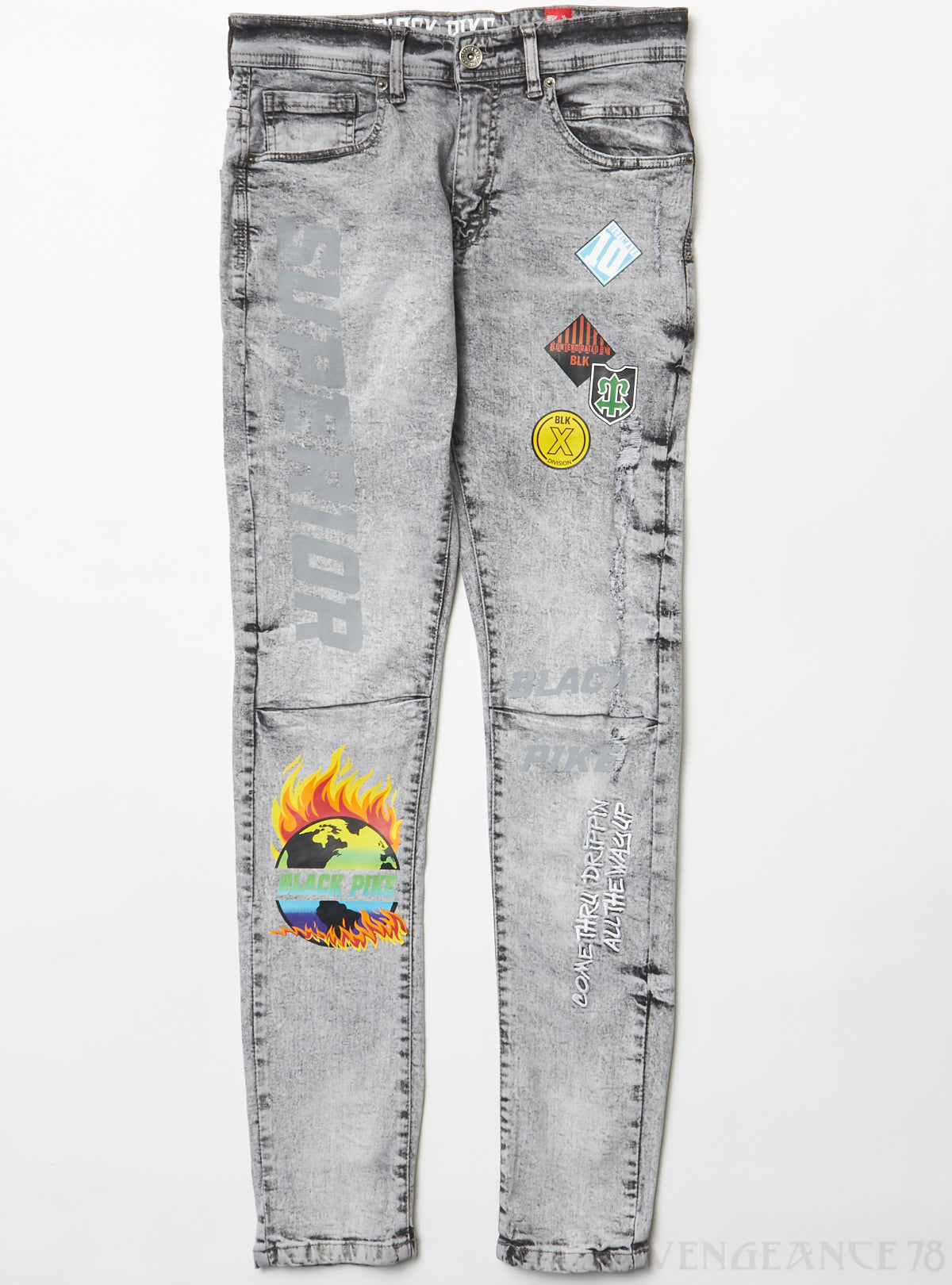 Black Pike Jeans - Reflection with Patches - Grey - BS0707