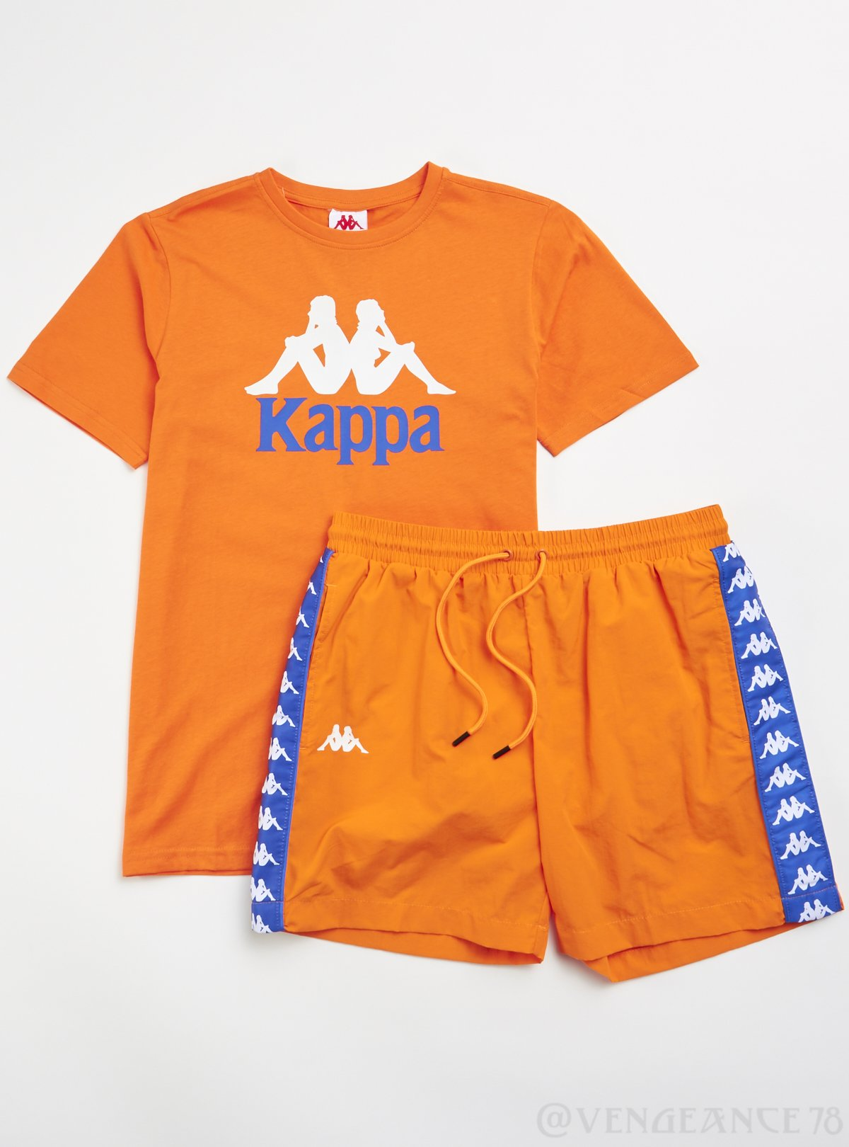 Kappa Short Set - Authentic Estessi Man - Orange and Blue - 304KPT0