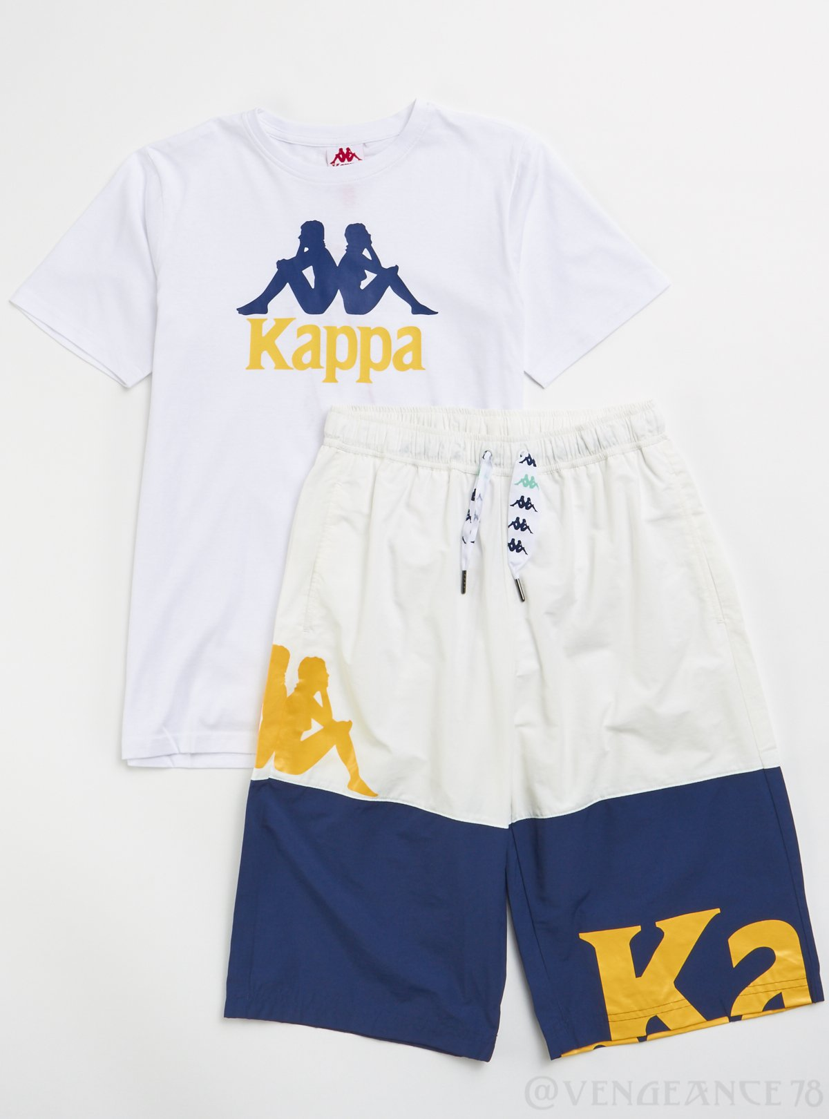 Kappa Short Set - Authentic Estessi Man - White with Blue and Yellow - 304KPT0