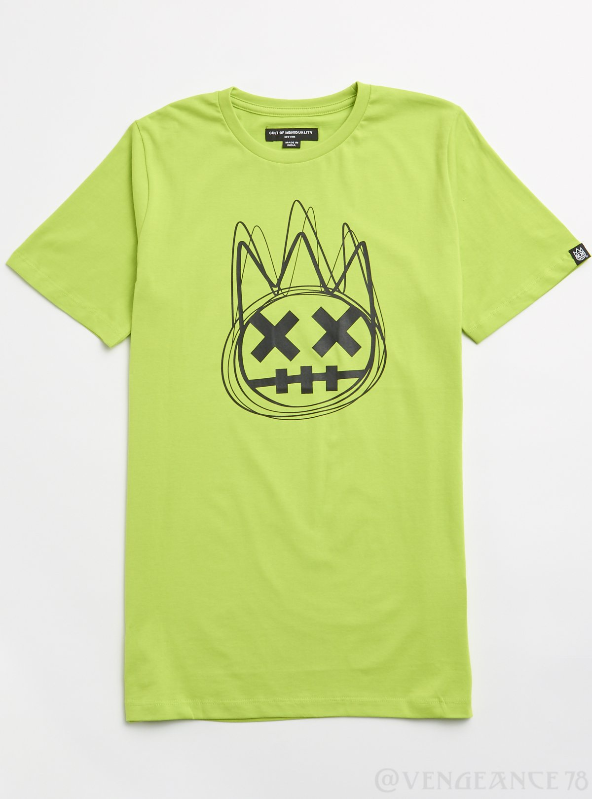Cult of Individuality T-Shirt - Scribble Logo - Safety Green