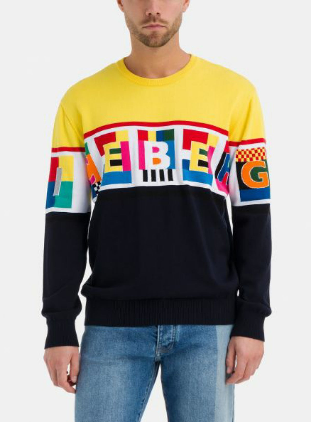 Iceberg Sweater - Yellow With Multicolor Letter Graphic - A0217