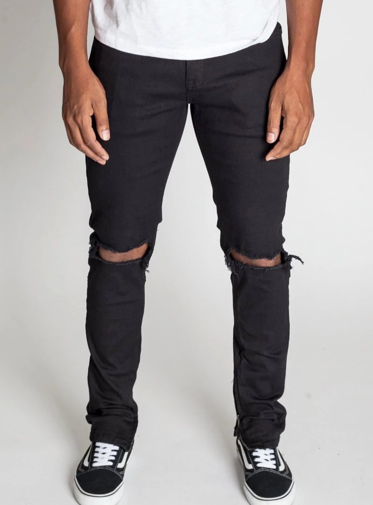 KDNK - Destroyed Knee Ankle Zip - All Black - KNB3119