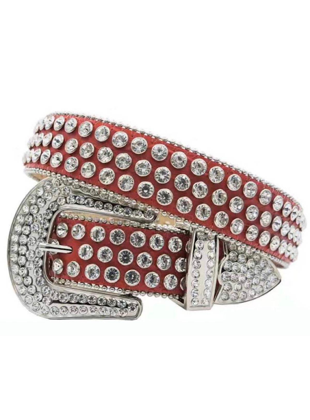 DNA Belt - Stones - Red with Silver