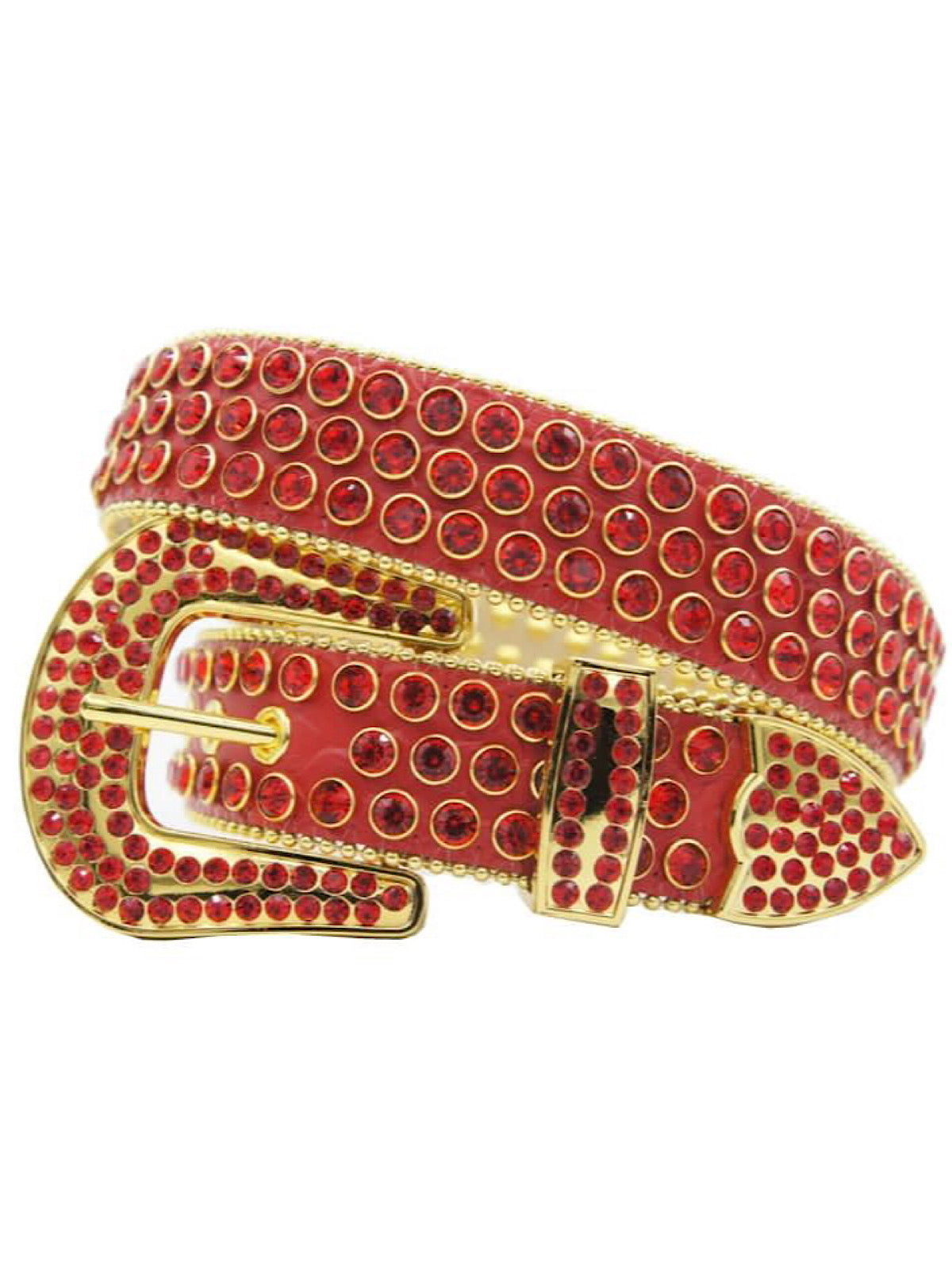 DNA Belt - Stones - All Red with Gold Trim