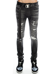 Cult of Individuality Jeans - Punk Super Skinny Stretch Belted - Razor - 620B11-5506C