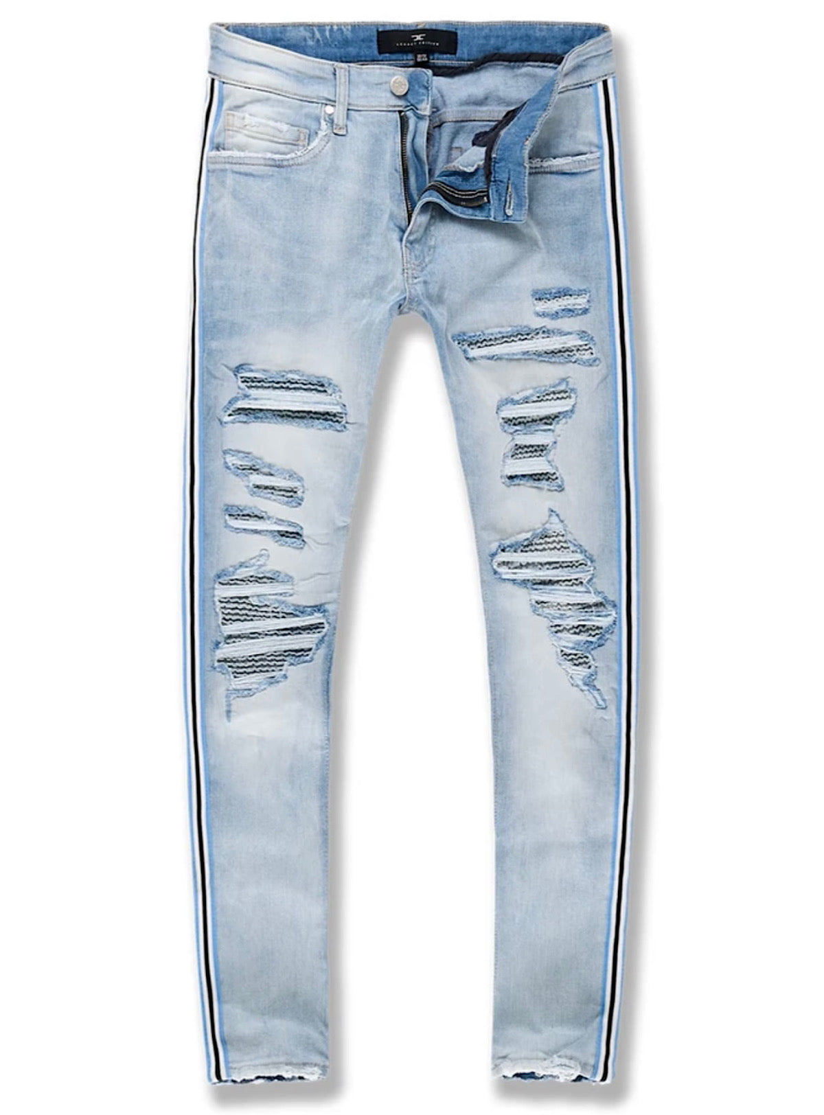Jordan Craig Jeans - Rips and Paintt - Ice Blue - JR1014