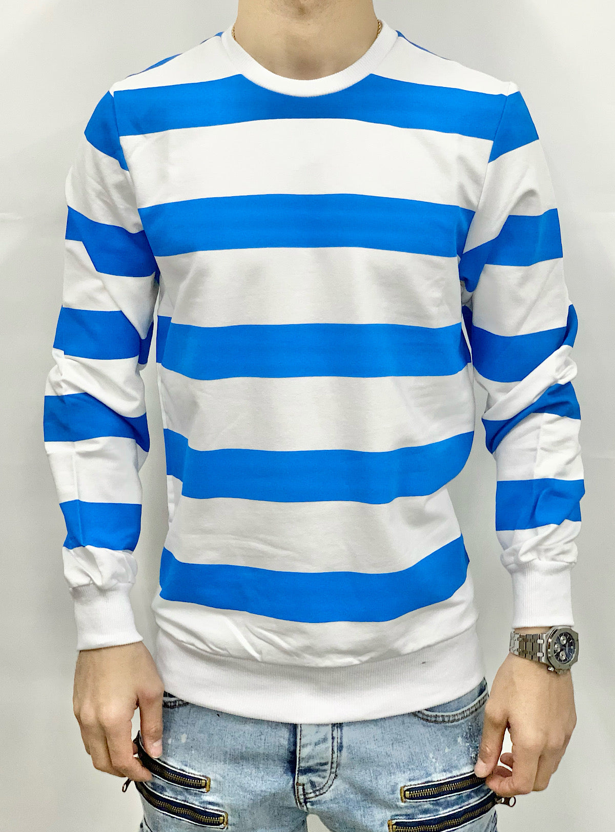 Buyer's Choice Sweater - Stripes - White And Royal - 60083