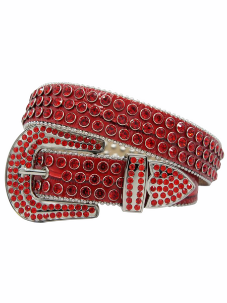 DNA Belt - Leather - Red With Red Stones