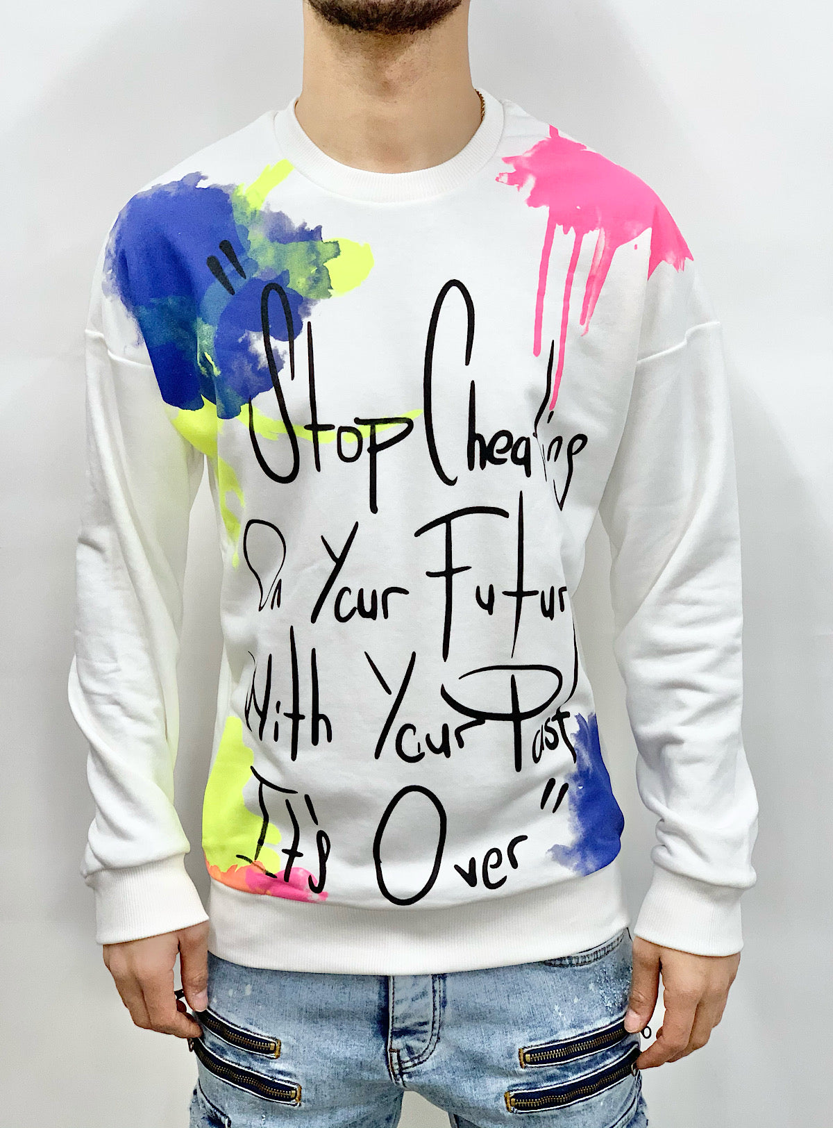 Buyer's Choice Sweater - Graffiti Stop Cheating - Ecru - 20402035