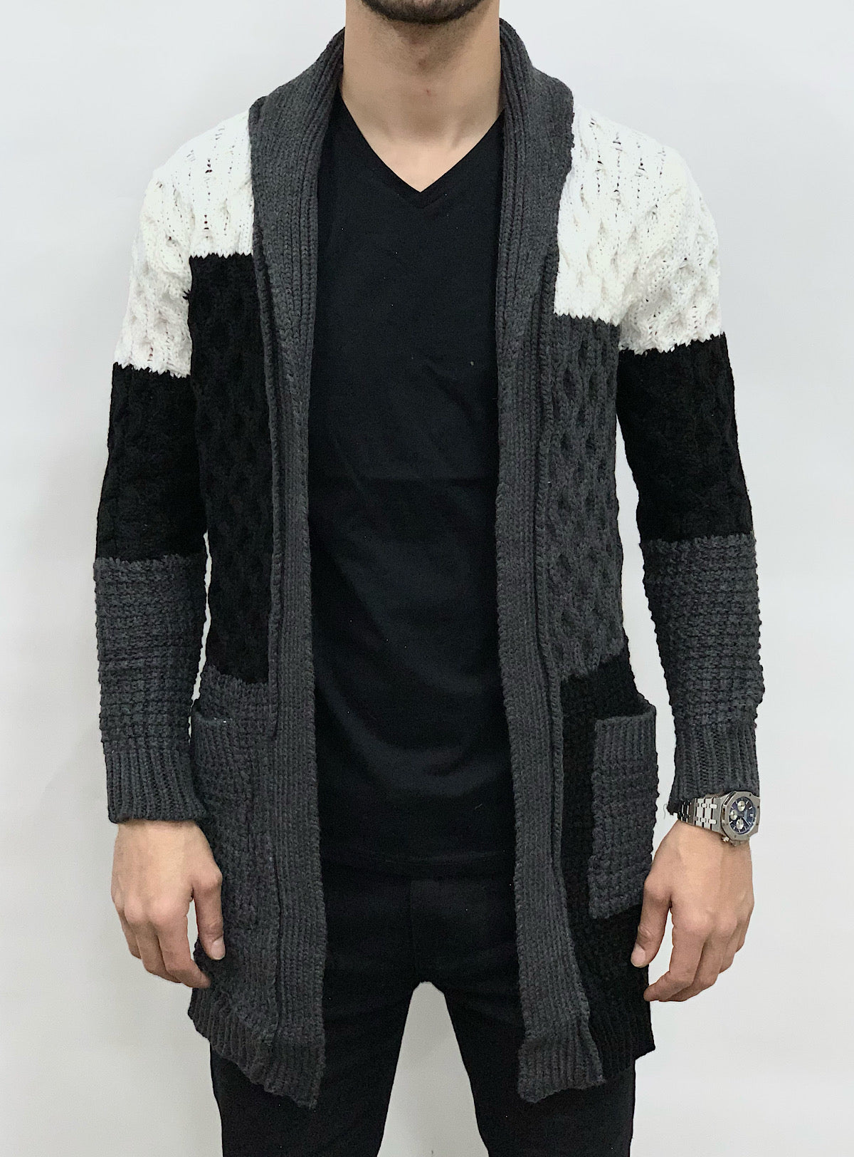 Buyer's Choice Sweater - Cardigan - Grey With Black And White - KA2045