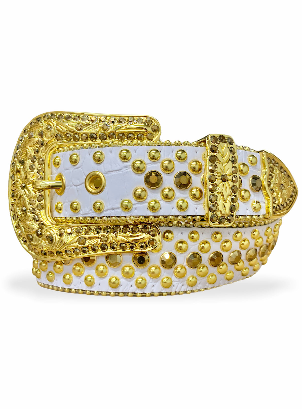 Karma Belt - Stones And Studs - White Leather With Gold Stones