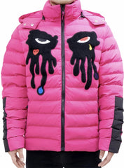 Roku Studio Puffer Jacket - Dripping Eyes - Pink - RK6480295