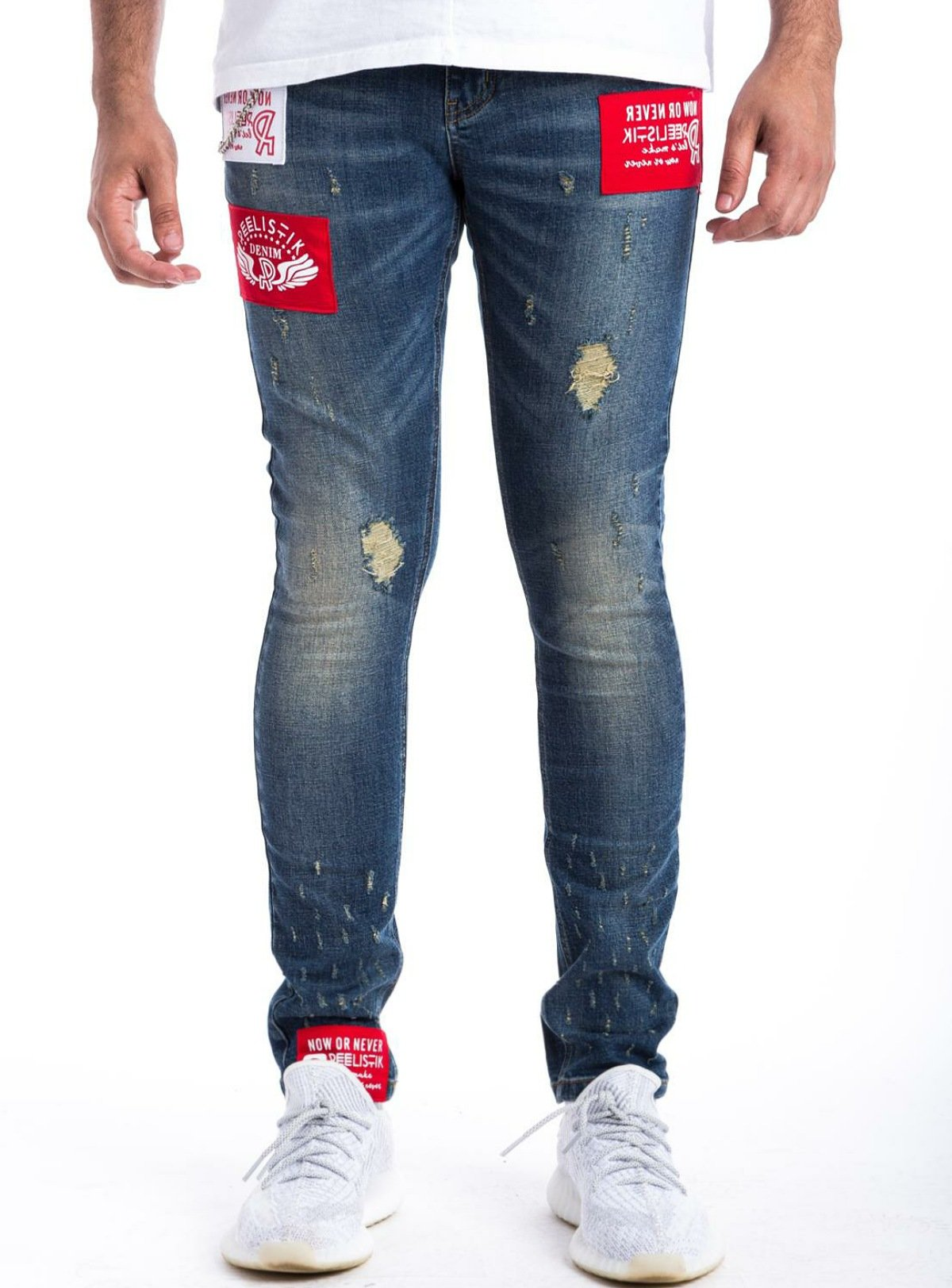 Reelistik Jeans - Blue With Red And White Patches - 0415