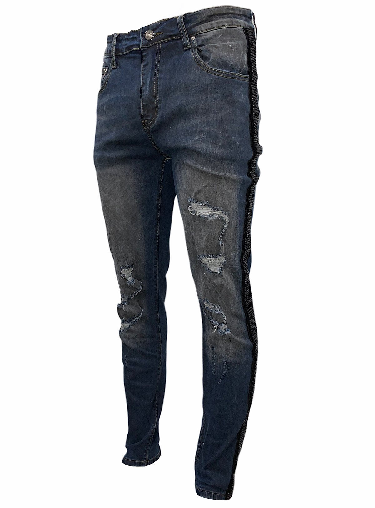 DNA Jeans - Navy Blue And Black Stones