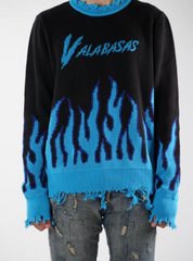 Valabasas Sweater - Flames Distressed - Black/Blue - VLBS2174