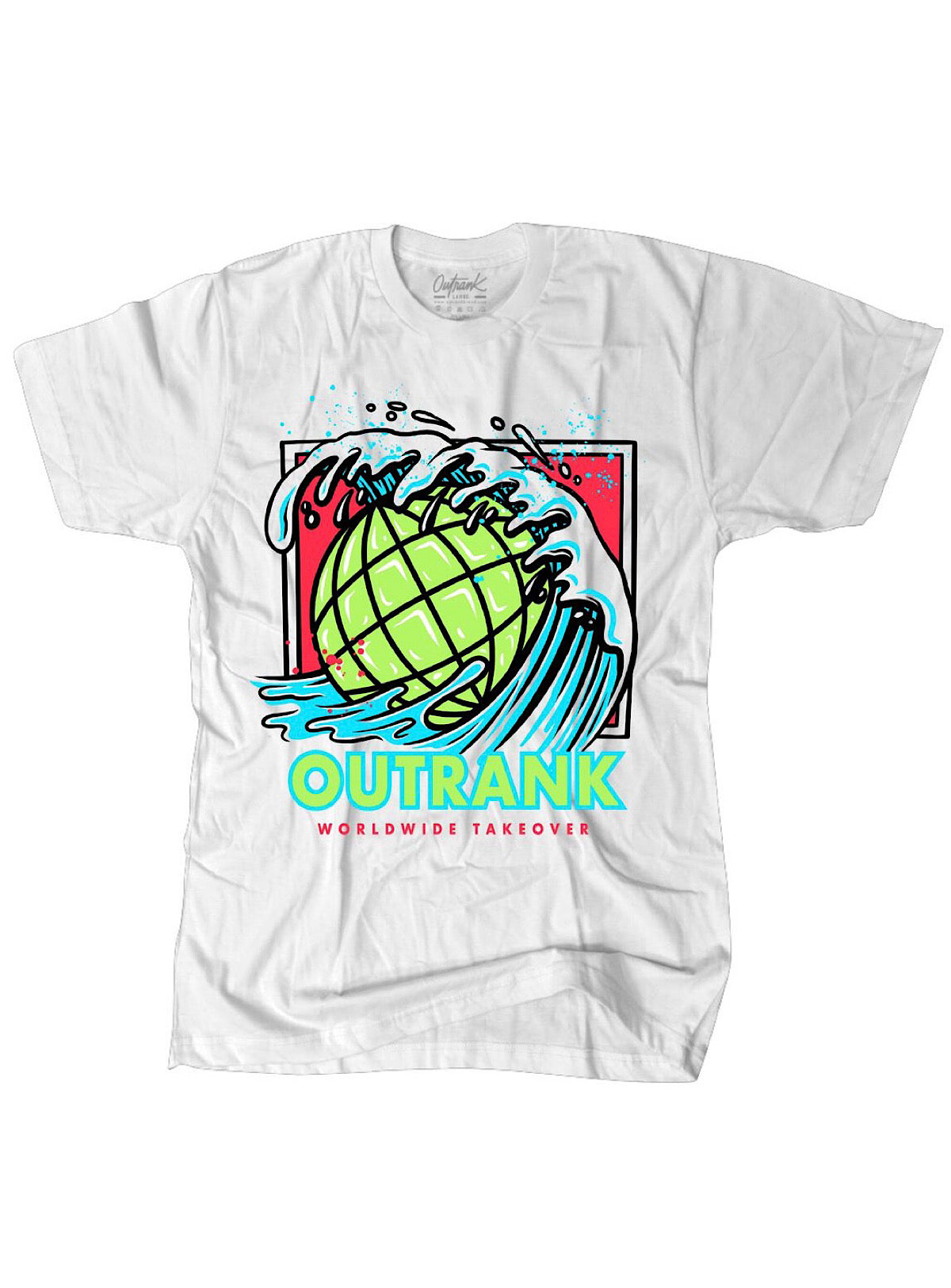Outrank T-Shirt - Worldwide Takeover - White - OR1240