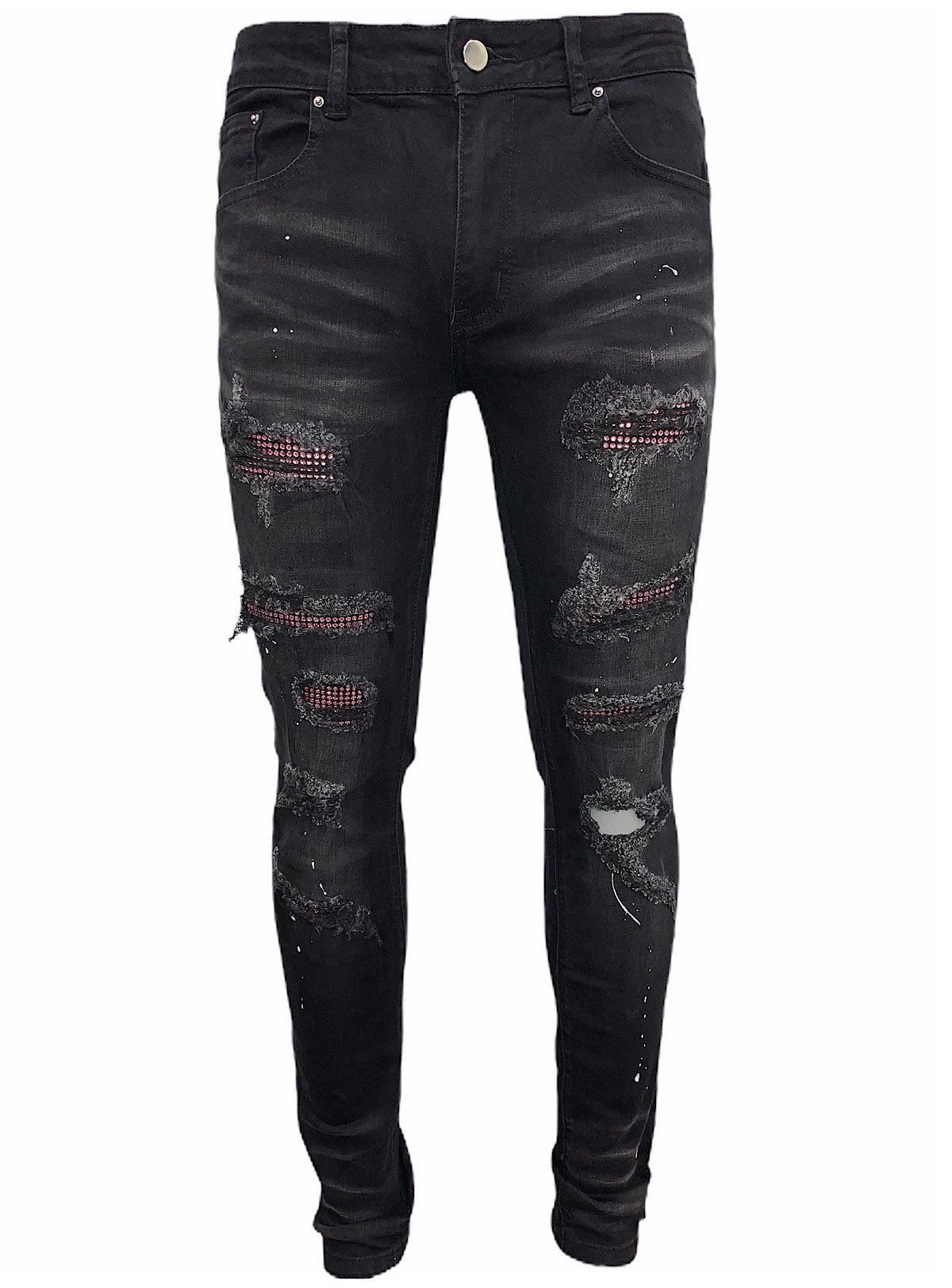 Politics Jeans - Stones - Black With Pink - SM-2005-05