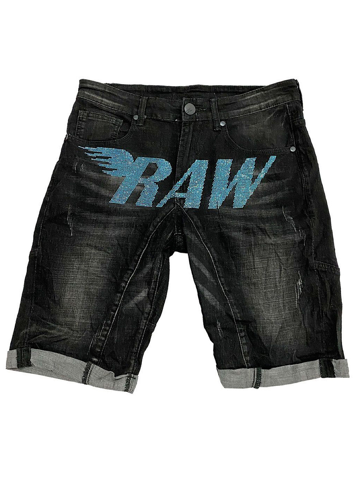 Rawyalty Denim Shorts - Stones - Aqua on Black