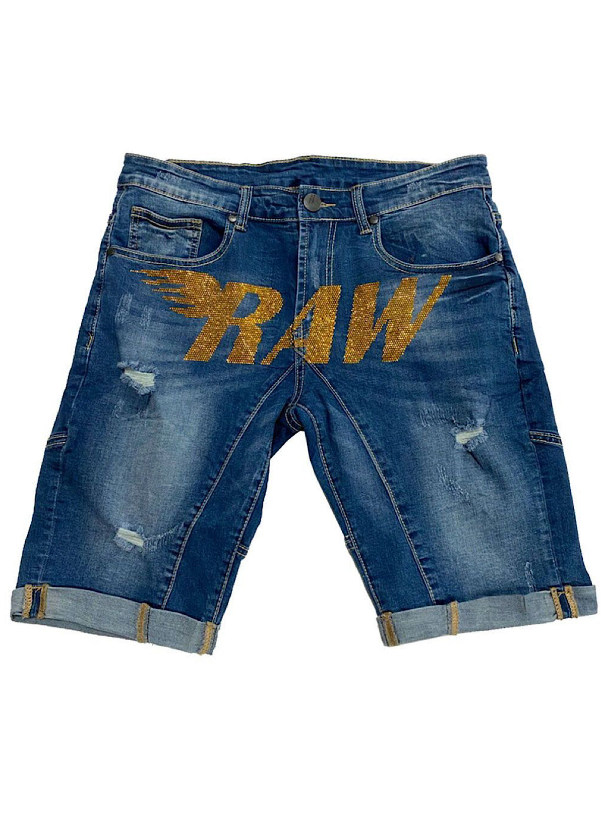 Rawyalty Denim Shorts - Stones - Gold on Blue