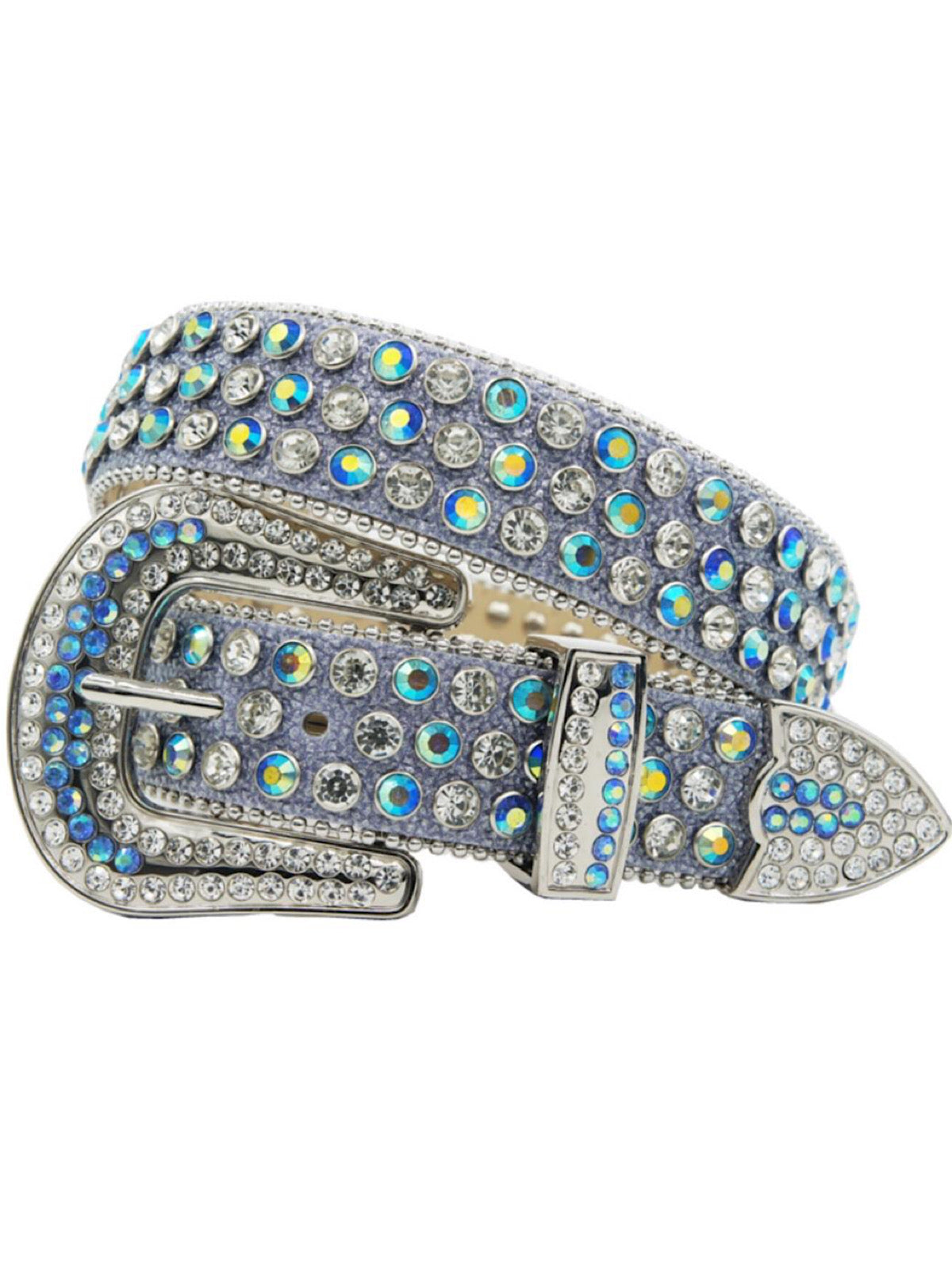 DNA Belt - Stones - Shiny Light Blue with Silver and Light Blue Stones