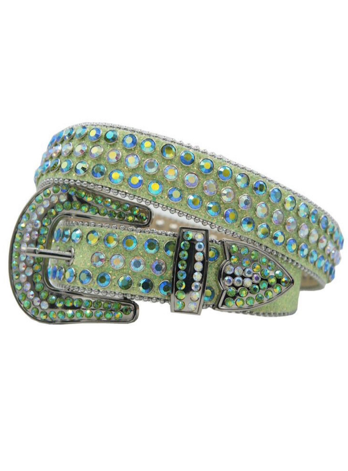 DNA Belt - Shiny Stones - Light Green with Green and Silver Stones