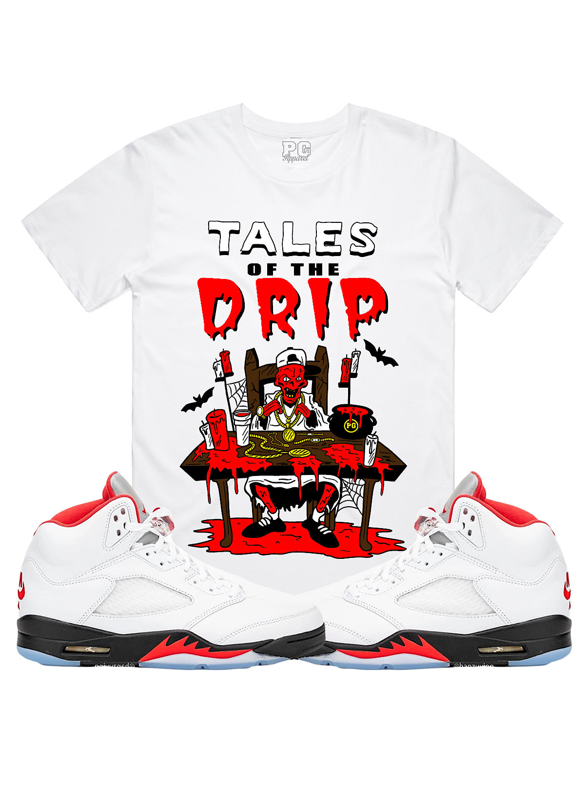 PG Apparel T-Shirt - Tales of the Drip - Red on White