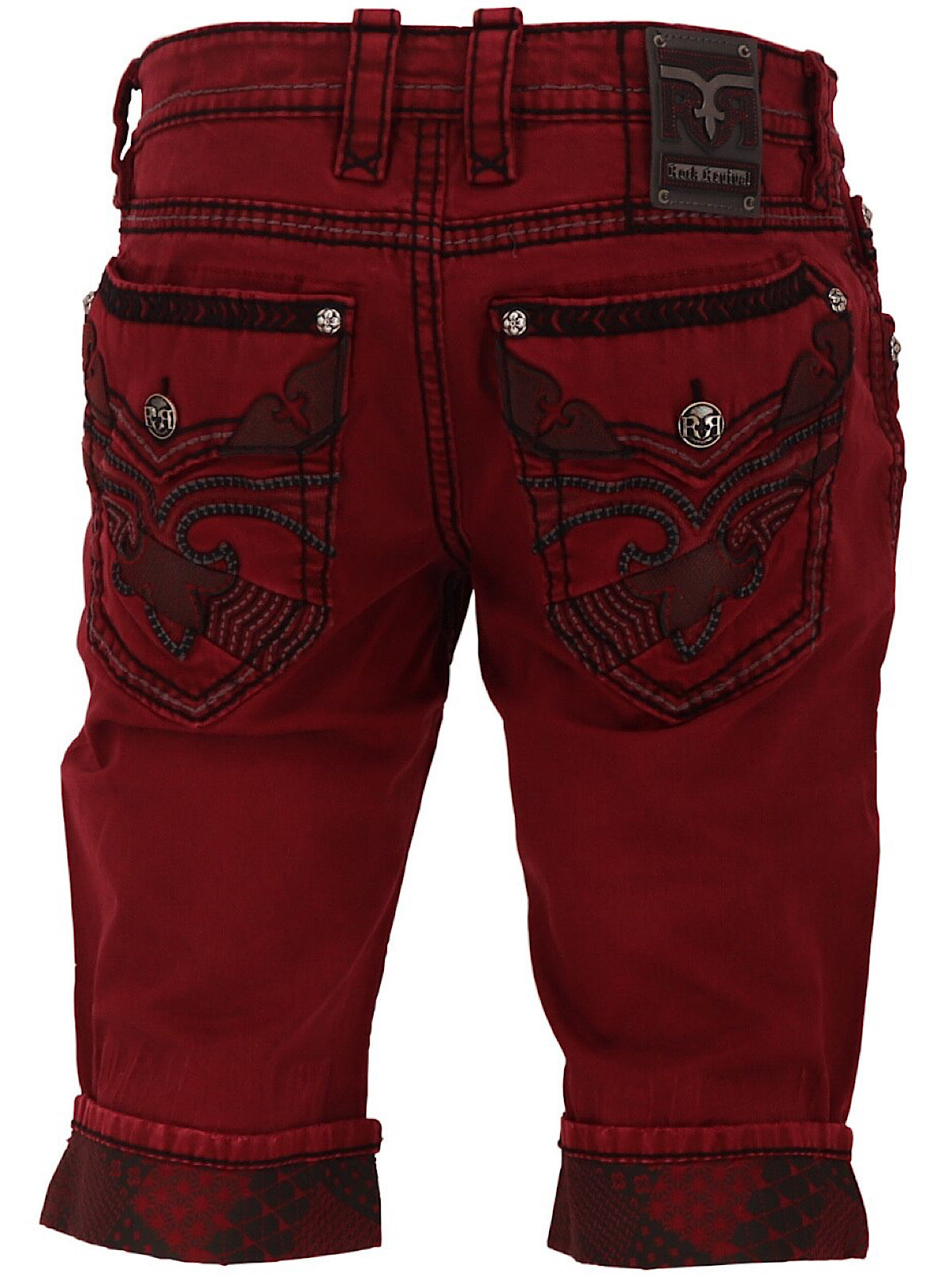 Rock Revival Denim Shorts - Crestmont H205 - Red