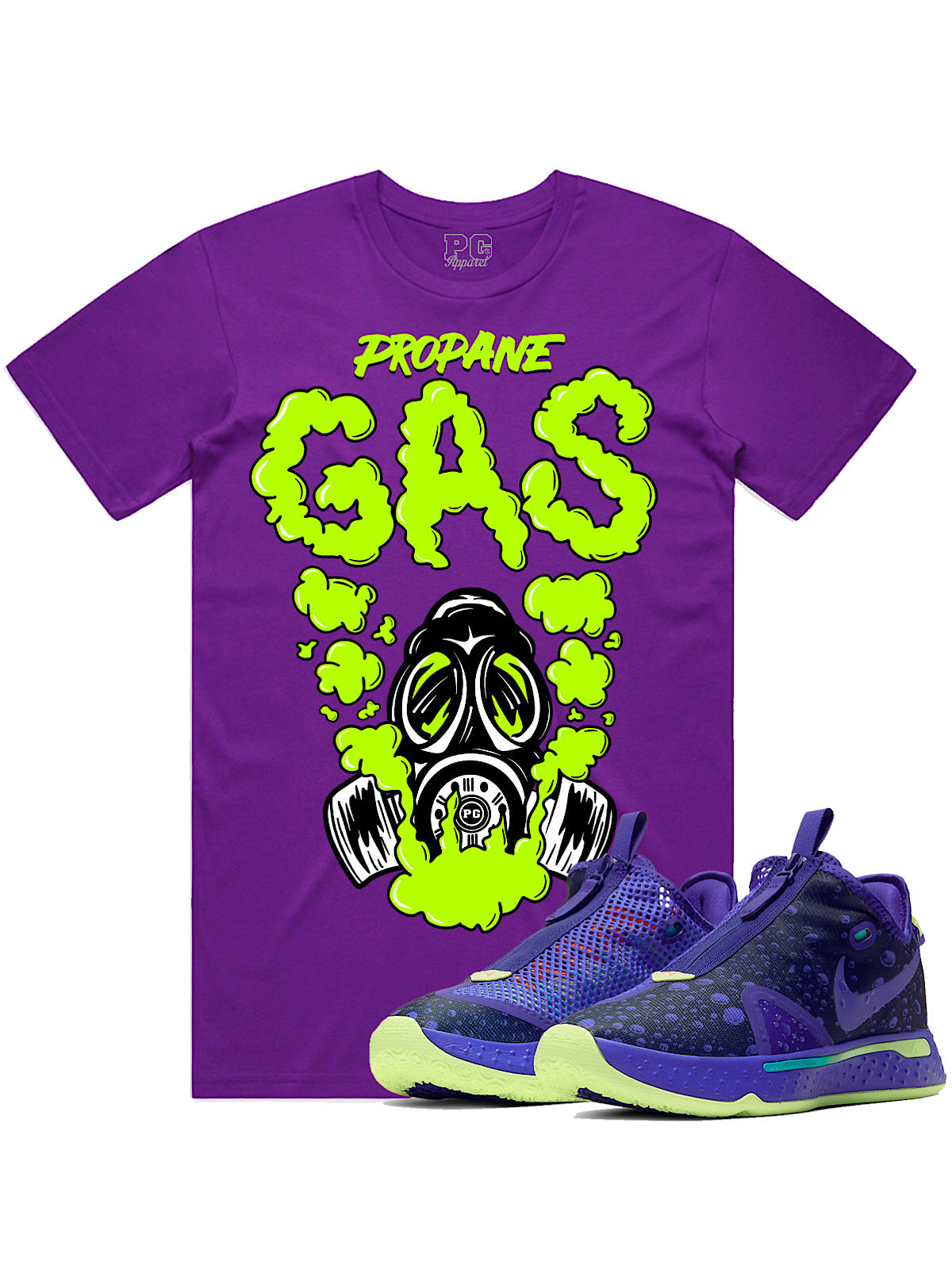 PG Apparel T-Shirt - Gas - Neon on Purple
