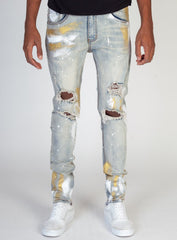 KDNK Jeans - Gold Paint - Blue - KND4286