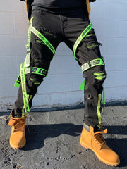 Locked & Loaded Jeans - Straps and Stones - Black and Fluorescent Green - LL111