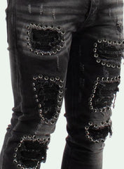 Majestik Jeans - Stones and Rips - Black - DL2055