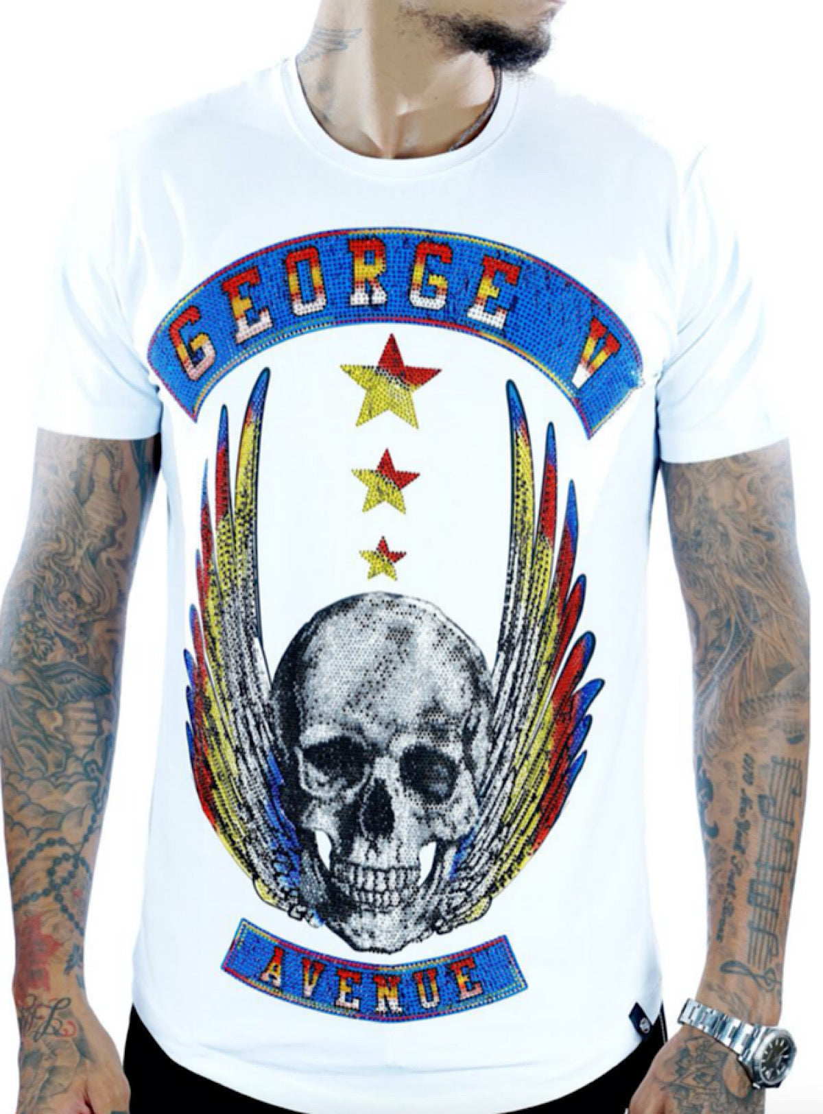 George V T-Shirt - Flying Skull - White - GV2071
