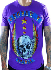 George V T-Shirt - Flying Skull - Purple - GV2071