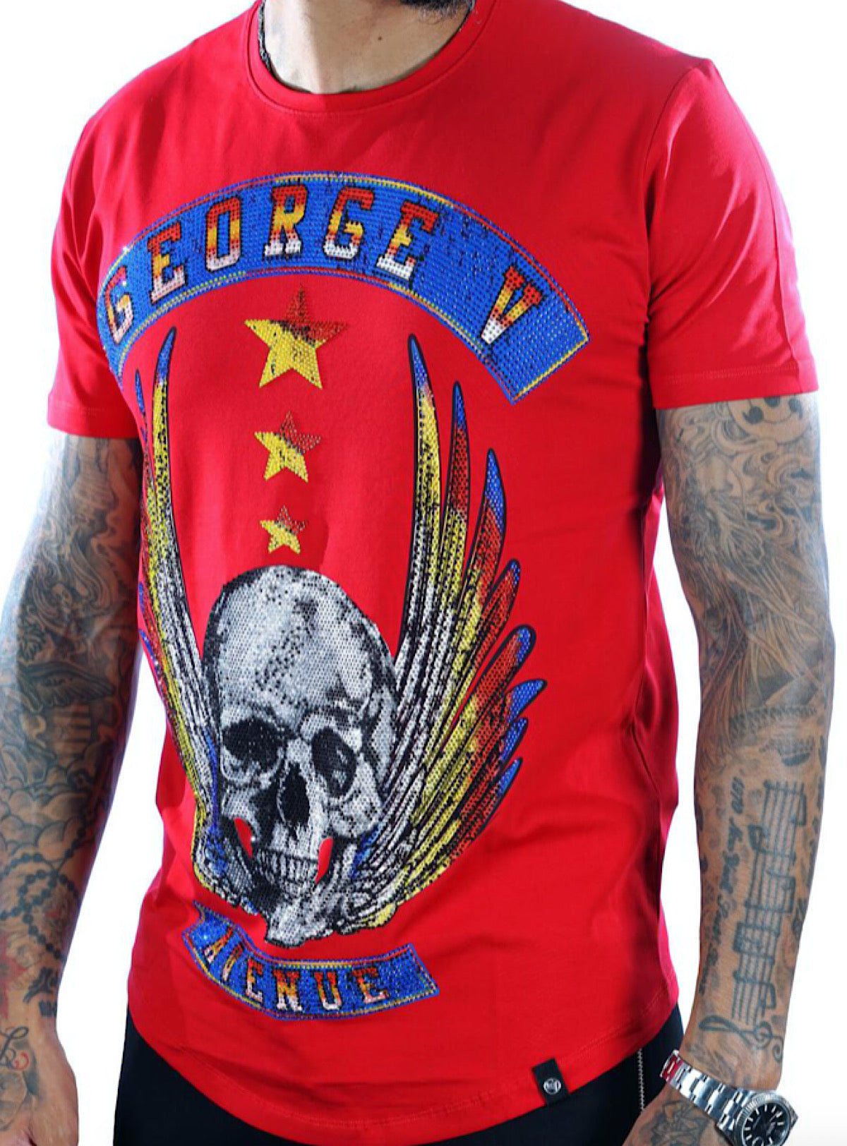 George V T-Shirt - Flying Skull - Red - GV2071