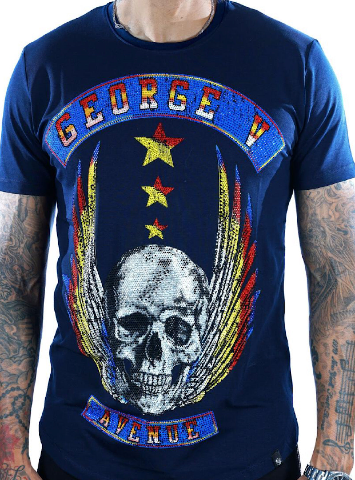 George V T-Shirt - Flying Skull - Navy - GV2071