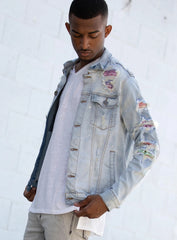 KDNK Denim Jacket - Rainbow Patched - Blue - KNO5047