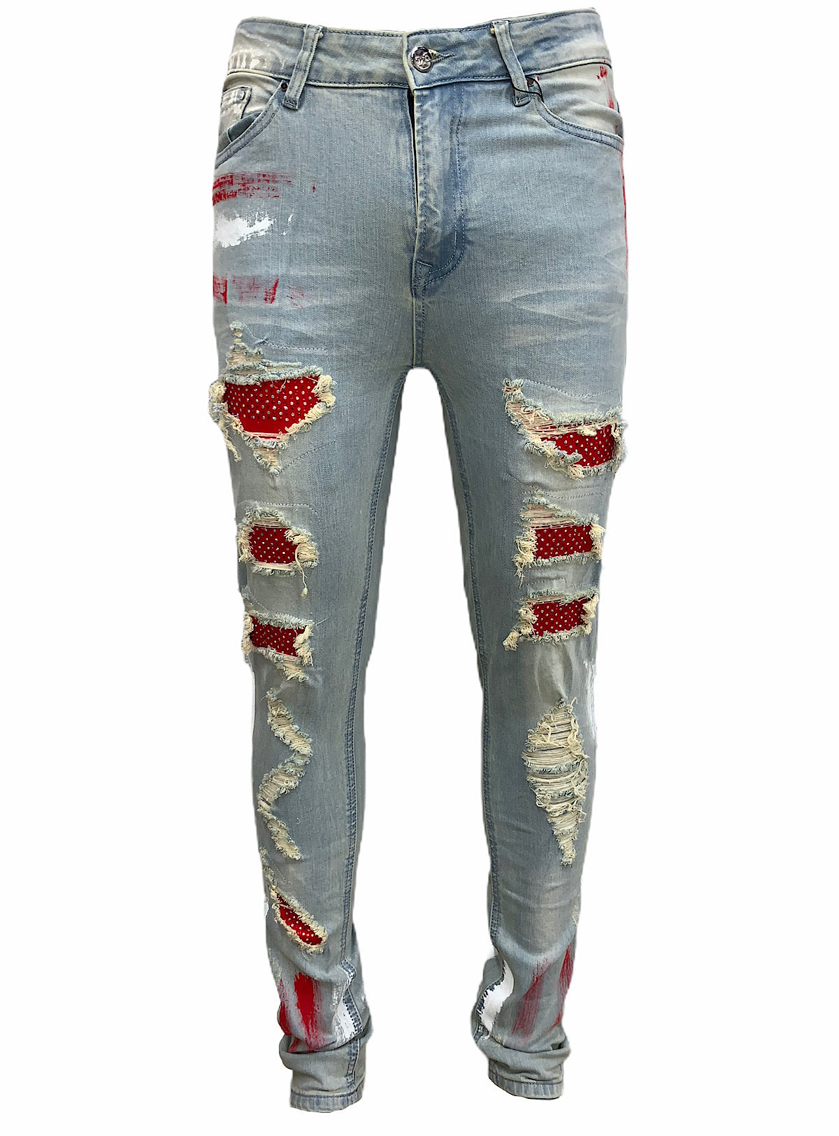 DNA Jeans - Stones and Paint - Red/White Multi Stones