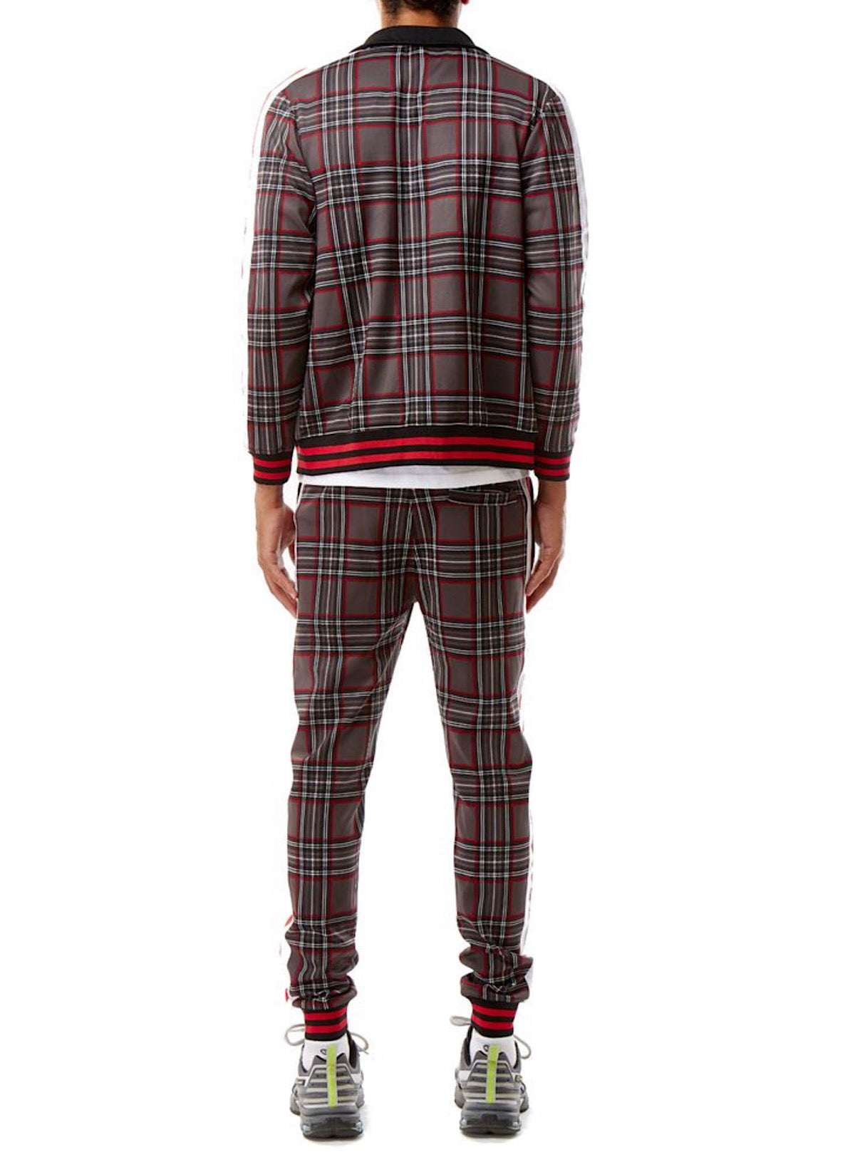 Rebel Minds Track Suit - Plaid - Red