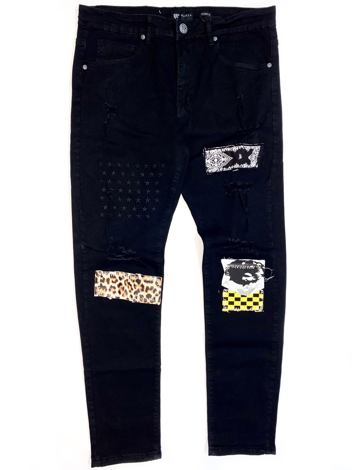 Waimea Jeans - Black With Patches - M4765D