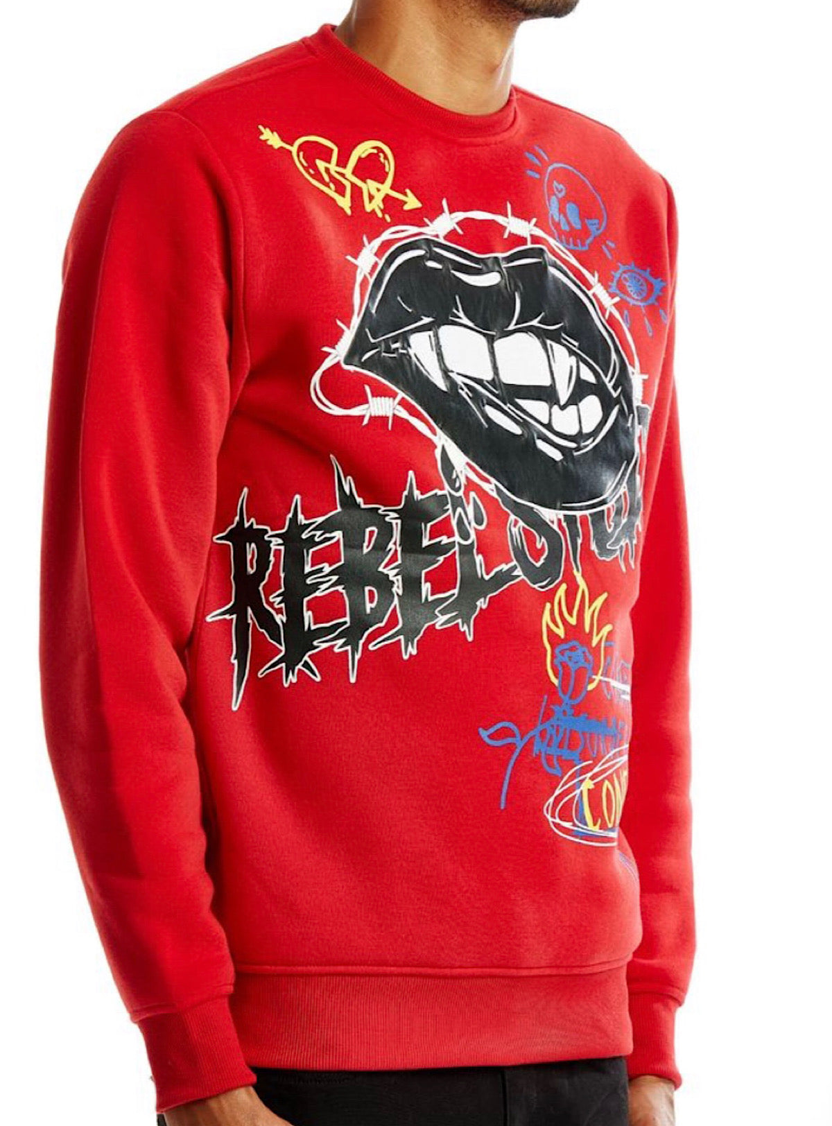 Rebel Minds Crewneck - Lips - Red