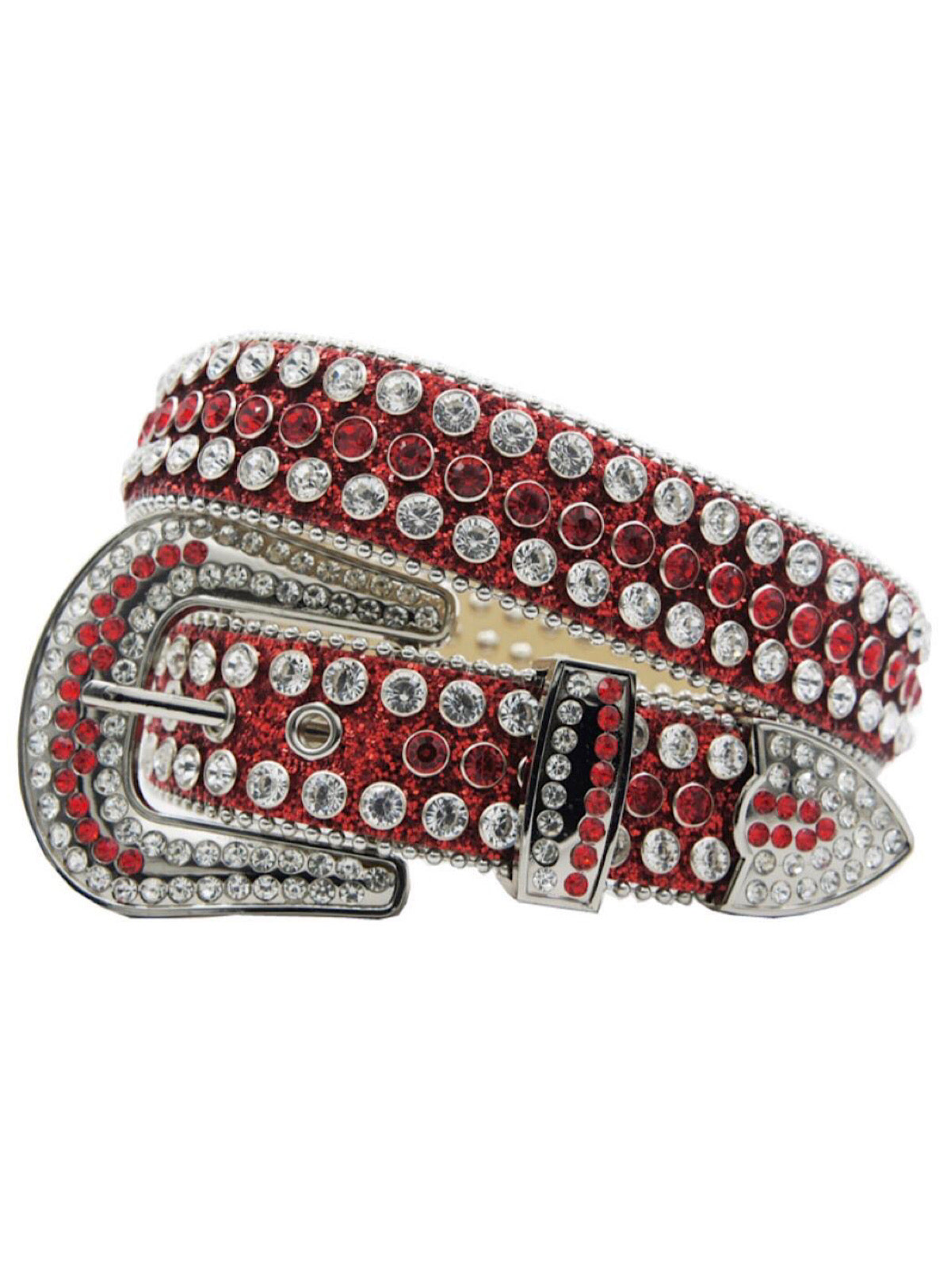 DNA Belt - Shiny Stones - Red with Red/Silver