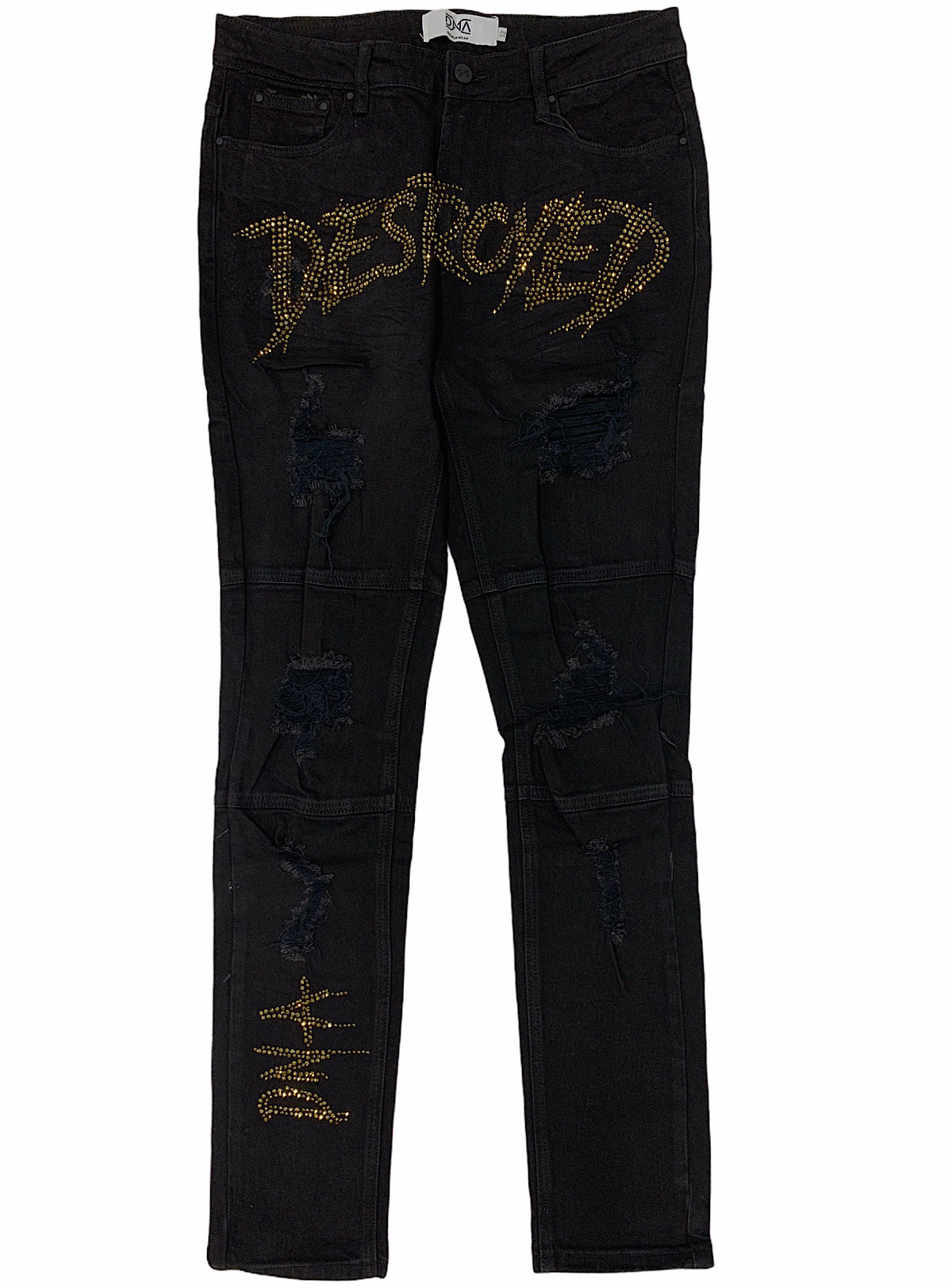 DNA Jeans - Destroyed - Black/Gold