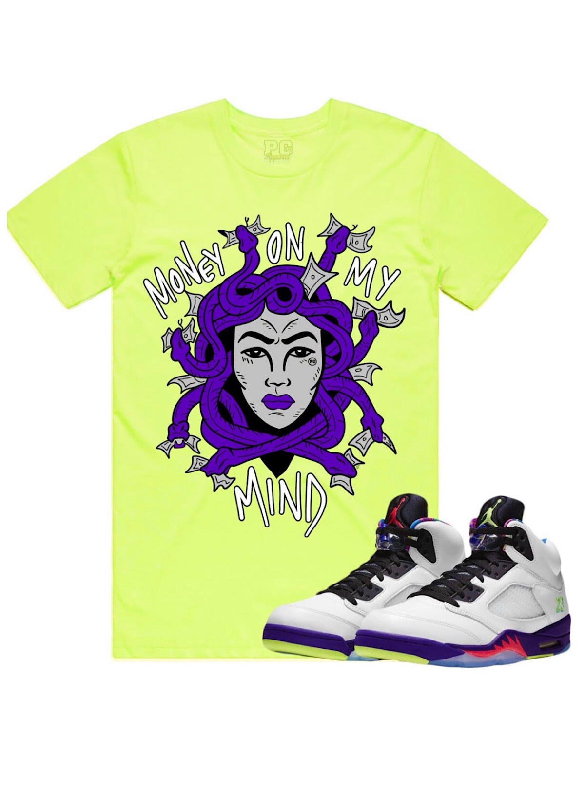 PG Apparel T-Shirt - Medusa - Neon with Purple