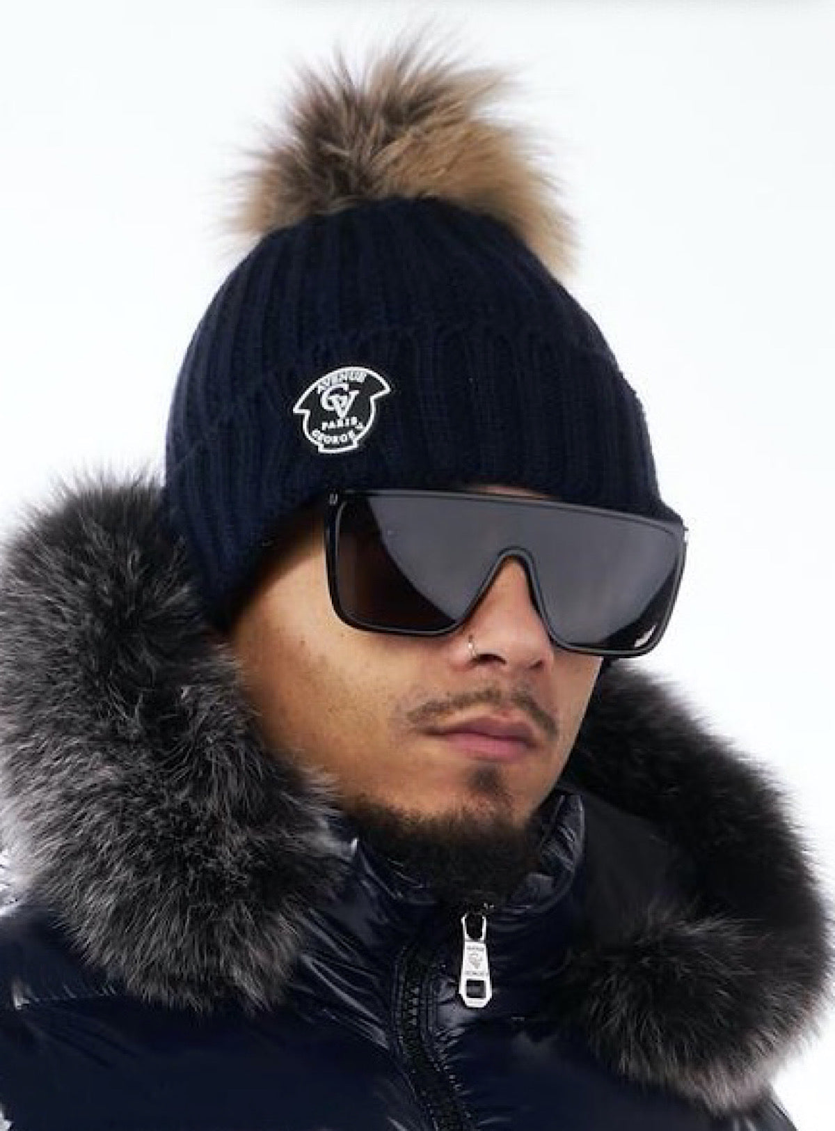 George V Hat - Fur Beanie - Navy